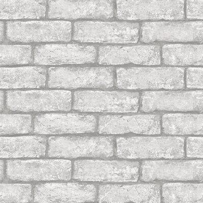 Williston Forge Cowley 16 5 L X 20 5 W Peel And Stick Wallpaper Roll White Brick Wallpaper Grey Brick Effect Wallpaper Brick Effect Wallpaper