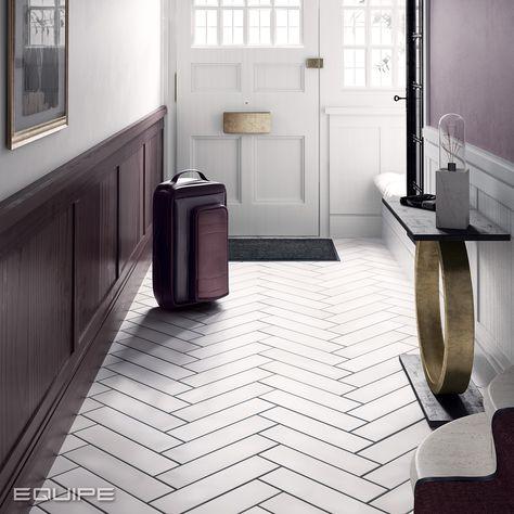 White floor tile living room decor. White tiles herringbone ...