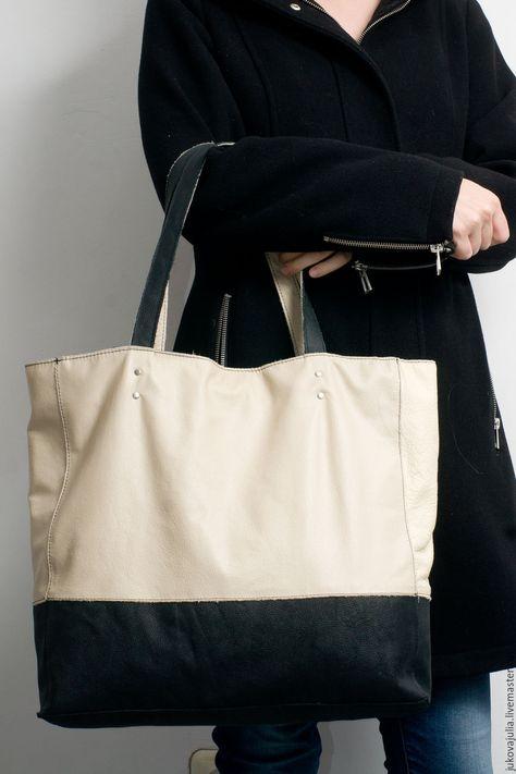 b4c0d071f248 shopper bag leather Купить Сумка шоппер из натуральной кожи бежевая черная  Оттенки бежевого - сумка ручной работы