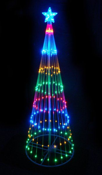 Outdoor Lighted Led Christmas Tree Decoration Pre Lit With 200 Multi Color M Christmas Tree Yard Art Outdoor Led Christmas Lights Christmas Light Installation
