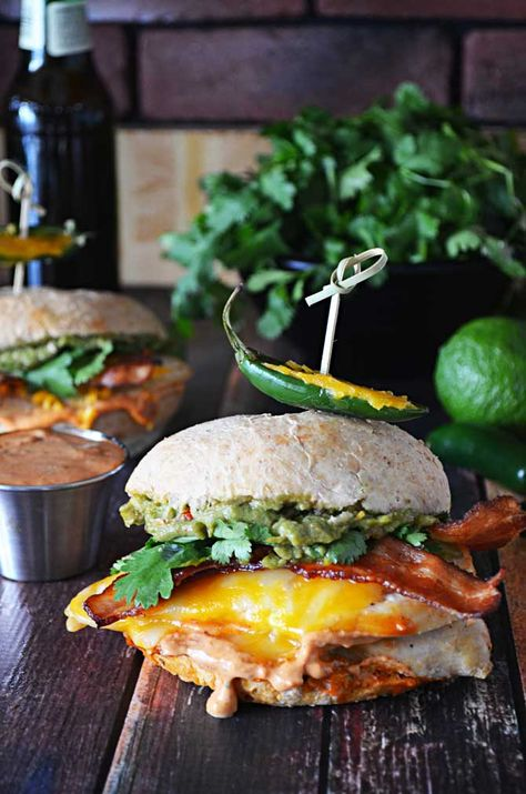 Tequila Lime Chicken Sandwiches with Guacamole and Chipotle Mayo