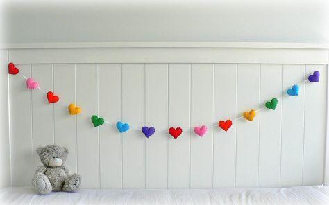 rainbow+nursery+decor   Rainbow felt hearts banner/ garland/ bunting - nursery decor ...