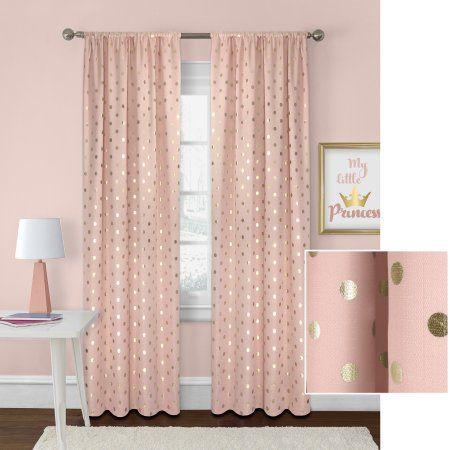 Better Homes And Gardens Metallic Polka Dots Single Window Panel Walmart Com Pink Bedroom Decor Polka Dot Curtains Pink And Gold Curtains