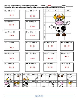 One Step Equations Puzzle Worksheet With Integers One Step Equations Multi Step Equations Worksheets Solving Multi Step Equations Math worksheets one step equations