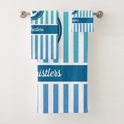 Nautical Anchor Rope Ombre Ocean Blue Stripes Bath Towel Set