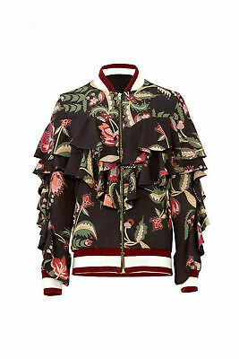 Patbo Black Womens Size 12 Ruffle Trim Floral Print Jackets For Women Clothes For Women Printed Bomber Jacket
