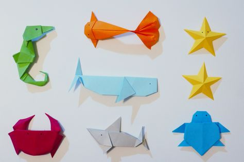 6 Origami Under the Sea Animal assortment: Shark, Seahorse, Turtle, Crab, Fish, Whale + Stars   Under the sea - Ocean Party favor