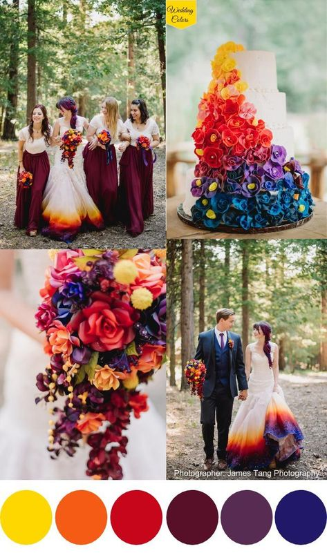 A Woodsy Summer Wedding inspired by Colors of the Sunset & Night Sky is part of Dye wedding dress - If I had to describe Taylor Ann & Christopher's sunset hued summer wedding in the woods with one word I would choose phenomenal, because really it's that Perfect Wedding, Fall Wedding, Our Wedding, Dream Wedding, Sunset Wedding Theme, Wedding Ceremony, Wedding Flowers Sunset, Summer Wedding Themes, Nautical Wedding