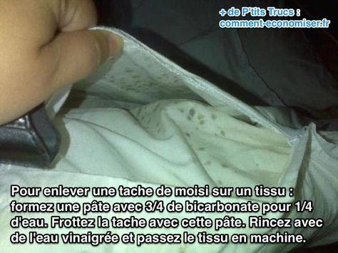 Utilisez du bicarbonate et du vinaigre blanc pour enlever une tache de moisi sur un tissu, vetement ou linge