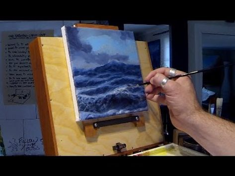 How to Paint Waves Real Time Acrylic Painting Seascape HD Demo