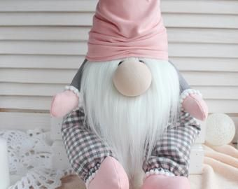 Valentines day scandinavian gnomes Pink gray love gnomes as holiday gift