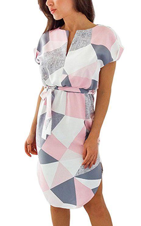 7ccd742182 ECOWISH Sommerkleider Damen Kurzarm V-Ausschnitt Strand Blumen Kleider  Abendkleid Knielang Rosa XL