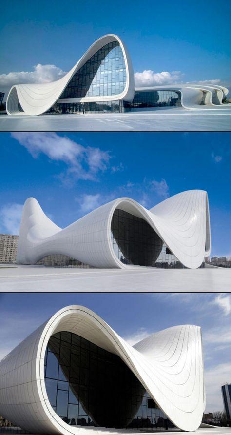 Zaha Hadid's new cultural center for Azerbaijan. / Centro cultural no Azerbaijão, criado pela mundialmente famosa arquiteta Zaha Hadid. Lindo. Fluido.