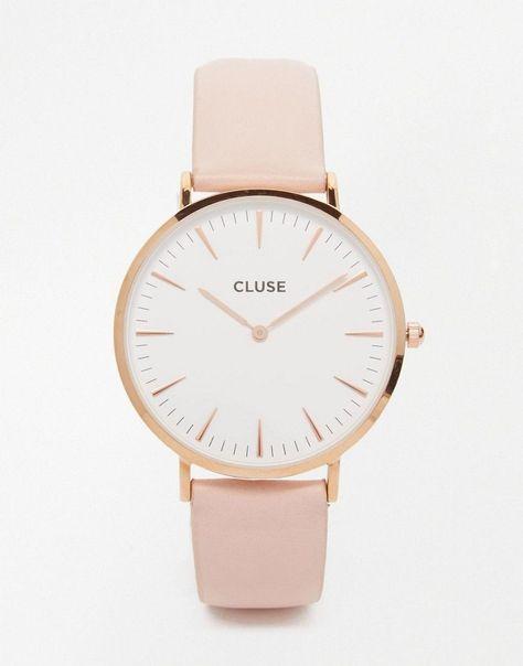 Image 1 - Cluse - La Boheme CL18014 - Montre en cuir - Or rose et rose