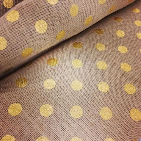 Gold polka dotted burlap