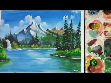 Scenery Drawing With Poster Colours Landscape Painting Water
