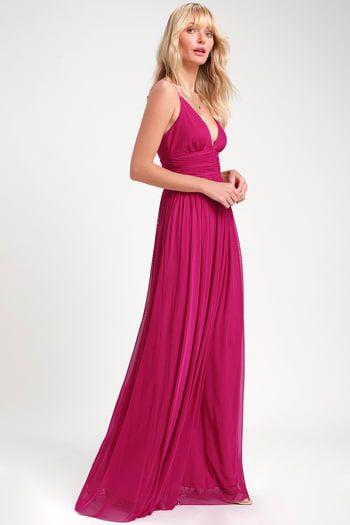 90s Hot pink maxi dress