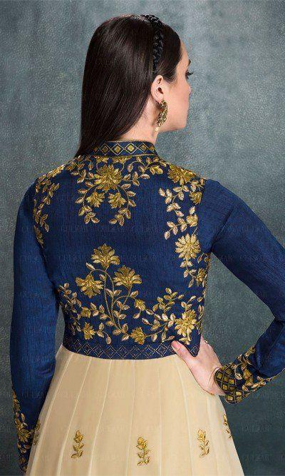 Blue and Beige Hued Floor Length Designer Anarkali Suit-