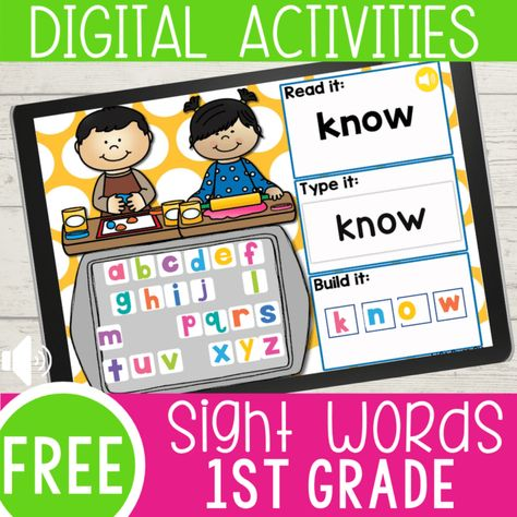 Perfect for distance learning- No printer needed Preschool Sight Words, Sight Word Activities, Learning Sight Words, 1st Grade Activities, First Grade Sight Words, Classroom Activities, Word Games, Classroom Ideas, Sight Word Apps