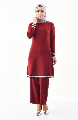Sefamerve Payetli Tunik Pantolon Ikili Takim 4116 02 Bordo Fashion High Neck Dress Neck Dress