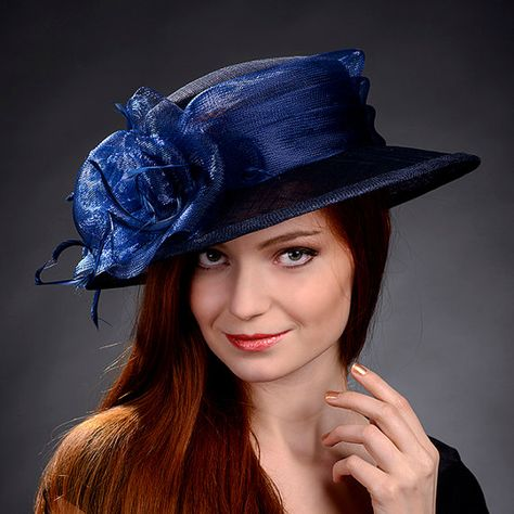 c09c038cbb3a8 Navy blue classical women hat for weddings church by MargeIilane ...