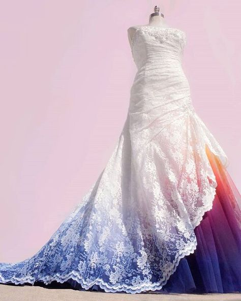 Bridal Gowns Colored by Taylor Ann Art - Gallery Rainbow Wedding Dress, Ombre Wedding Dress, Colored Wedding Dresses, Dream Wedding Dresses, Bridal Dresses, Ombre Gown, Bubble Wedding Dress, Pretty Dresses, Beautiful Dresses