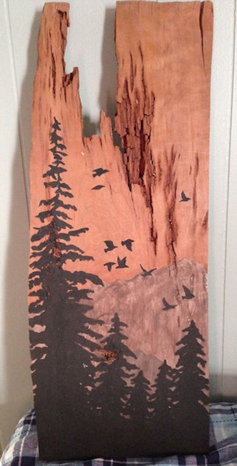 Items similar to Wood panel, tree skyline, reclaimed wood wall decor on Etsy