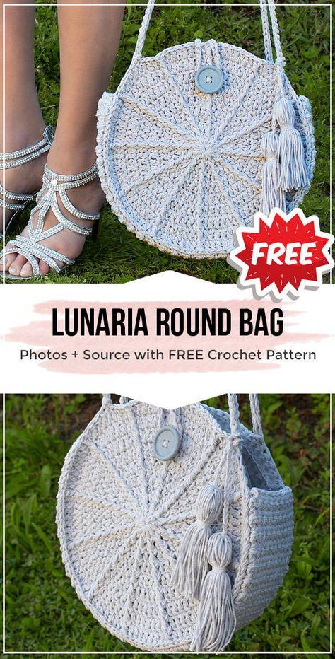 Lunaria Round Bag -  Crochet Pattern - Share a Pattern #crochet #pattern #shareapattern #crocheting  #cochetpattern #yarn #diy #craft #handmade #freecrochetpattern #Bag