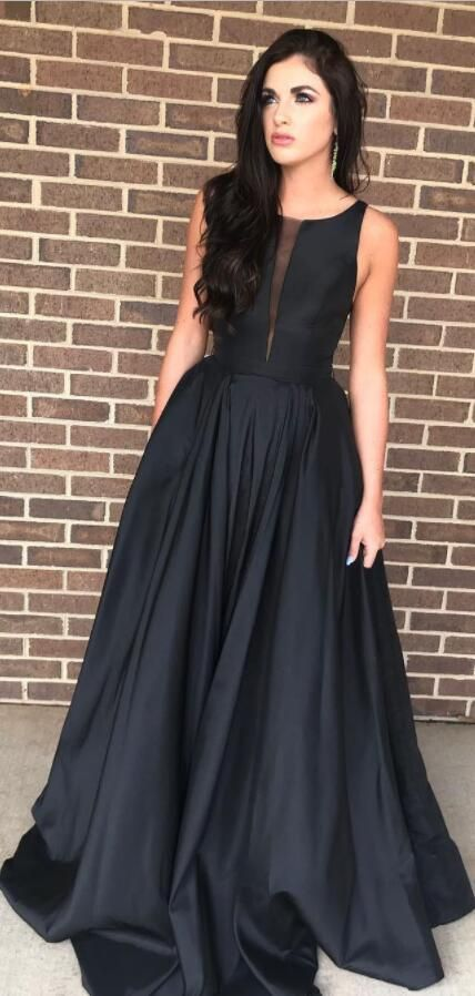 13959eec16375 Modest Black Long Prom Dress with Illusion V Inset in 2019 | Formal ...