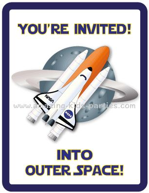 FREE Printable Kids Space Party Invitation Set From Amazing Parties