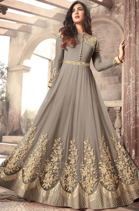 e2954f5a6 Gray Designer Embroidered Net Party Wear Anarkali Suit in 2019 ...