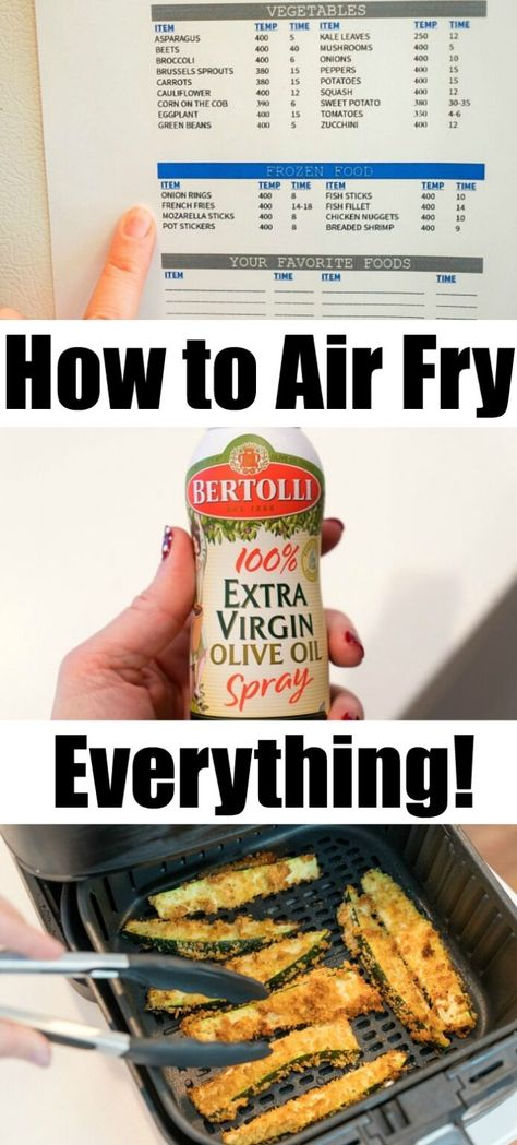 Air fry everything you want in your new hot air crisping machine! Use our free air fryer cook time printable & our tips for perfection. #airfrying #airfryer #airfryerrecipes #airfryeverything