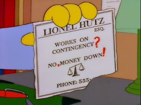 Lionel Hutz Business Card Simpsons With Images Lionel Hutz