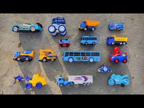 Mencari Mainan Mobil Warna Biru Bus Tayo Truk Molen Mobil Balap Excavator Dan Truk Kontainer
