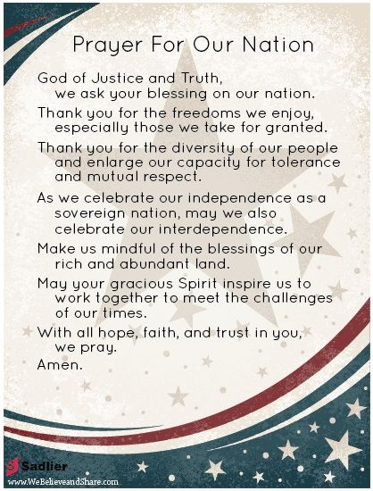 Our Nation is always in need of prayers! Download a Prayer for Our Nation and use it with your family or parish.