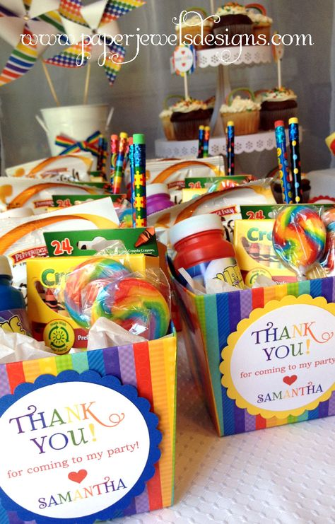 Rainbow Birthday Party favors (crayons, bubbles, rainbow goldfish crackers, lollipop, and pencils)