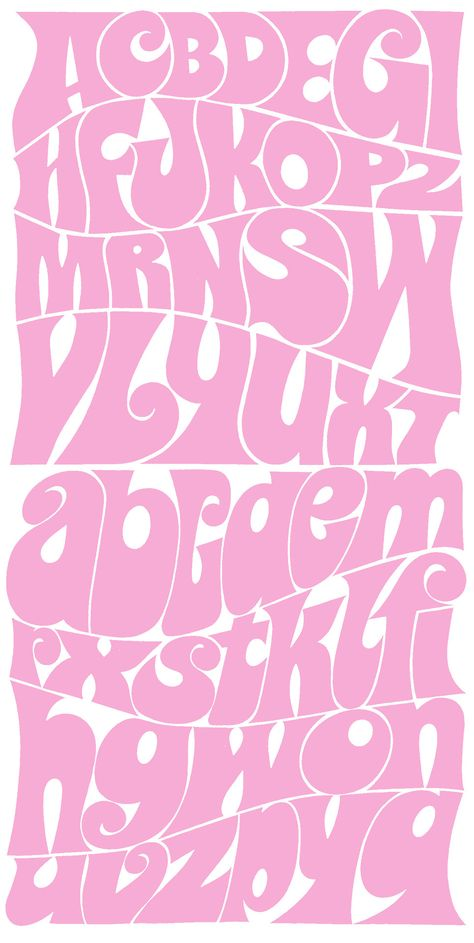 Pink Groovy Font Alphabet By iindex Creative Lettering, Lettering Styles, Lettering Design, Lettering Tutorial, 60s Font, Groovy Font, Retro Font, Calligraphy Fonts, Typography Letters