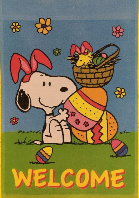 0a0ba280298027 Peanuts Snoopy   Woodstock Easter Welcome Garden Flag 12