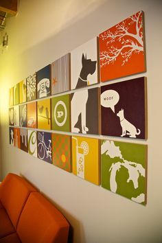 Wall Art Design, Wall Art For Office Pop Culture Modern Unique Stunning  Creative Room Decoration Personalized Custom Displayed Canvas Dog Tree Teleu2026