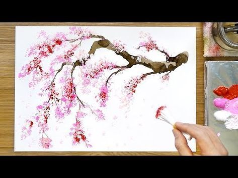 Cherry Blossom Tree Q Tip Painting Technique Acrylic Painting Youtube Painting Pa Cherry Blossom Painting Acrylic Cherry Blossom Painting Flower Painting