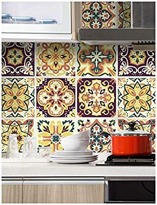 Haokhome 96007 Thick Peel And Stick Moroccan Style Mosaic Tile Patterns Wallpaper 17 7 X 9 8ft Mult Peel And Stick Wallpaper Kitchen Wallpaper Wallpaper Border