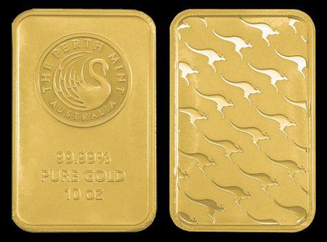 Perth Mint Gold Bar 10 Oz Perth Mint Kangaroo Gold Bar Actual Bar Size 58mm X 37mm Gold Bullion Bars Buy Gold And Silver American Eagle Gold Coin