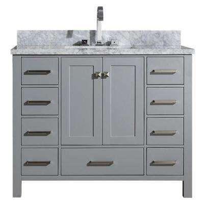 Cambridge 43 In Bath Vanity In Grey With Marble Vanity Top In