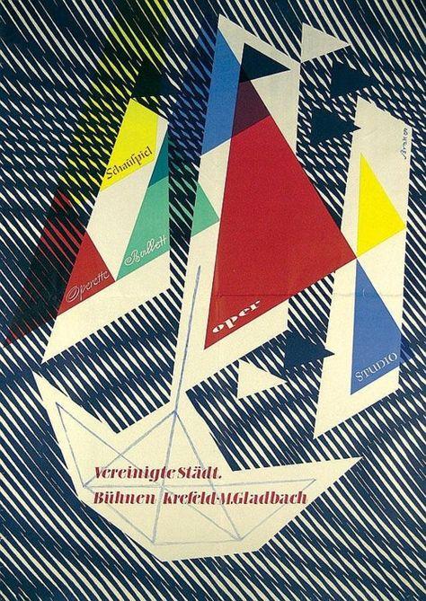German Music Design Poster by Walter Breker 1950s