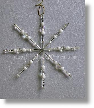 Beaded snowflake instructions with measurements to make wire frame.