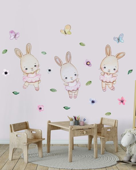Bunny wall decal nursery girl Stars wall decal Bunny wall sticker Cloud wall decal Watercolor bunny wall art Bunny nursery wall decal girl
