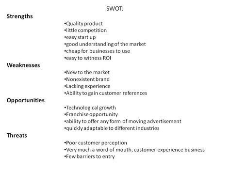 SWOT Analysis for Multimedia Marketing Vehicle Paint Ball - example of a swot analysis paper