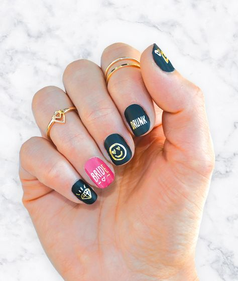 Gold Bachelorette Nail Tattoos. Hens party ideas, nail art by Daydream Prints