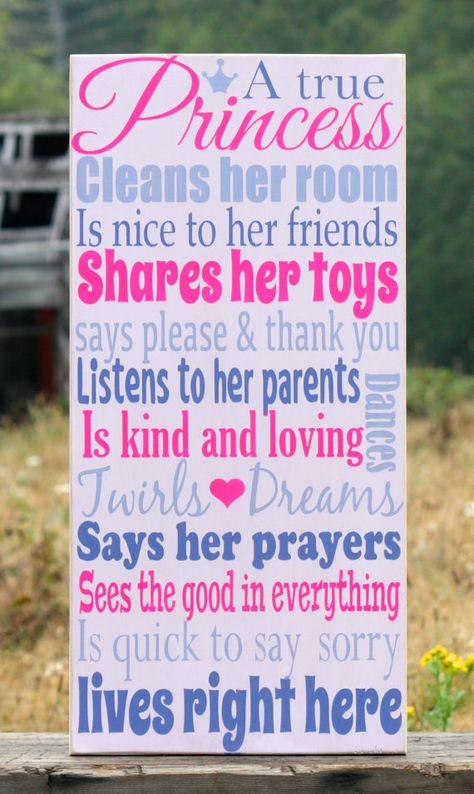 A True Princess, Hand Painted Sign, Little Girls, Pink, Purple, Girls Room, Princess, Decor, Vintage, Girls Room Decor