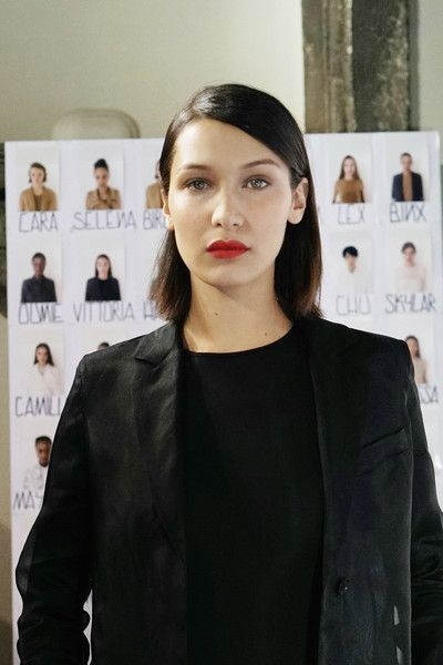 Model Bella Hadid is seen backstage ahead of the Max Mara show during Milan Fashion Week Spring/Summer 2018.
